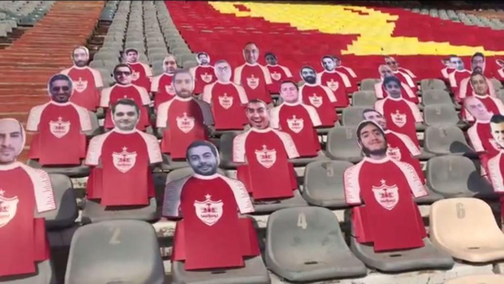 طرح موزاییکی و ماکت هواداران پرسپولیس در ورزشگاه آزادی +عکس