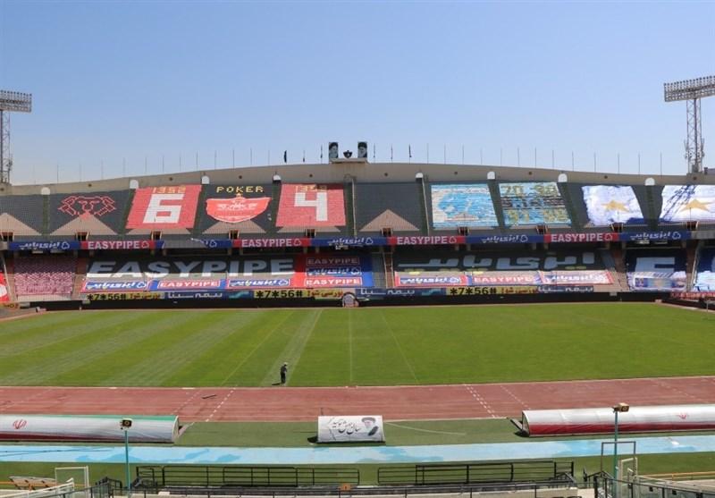 نمایی از ورزشگاه آزادی ساعاتی قبل از شروع دربی