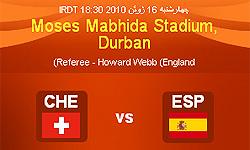 تساوی اسپانیا و سوئیس در نیمه اول
