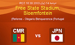 برتری ژاپن مقابل کامرون در نیمه اول