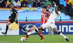 پیروزی غنا مقابل اروگوئه در نیمه اول